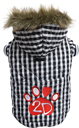 Doggydolly W344 stylish, warme Hundewinterjacke / Wintermantel mit Kapuze, Stickerei 2D Pfote und Kunstpelz, S