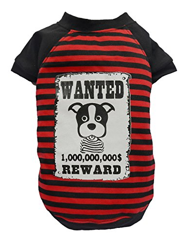 Doggy Dolly T518 Hundeshirt Wanted, rot/schwarz, Größe : S