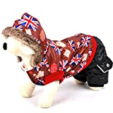 Pegasus North Europe Kleiner Hund Kleidung Winter UK Flagge Hundemantel Fleece gefüttert Hund Jumpsuit mit Kapuze