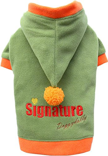 Doggy Dolly W240 Fleece Hundepullover Signature mit Kapuze, grün, Größe : XXS