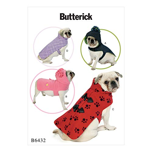 Butterick Patterns 6432 OS, Hunde Mäntel, Butterick Pattern, mehrfarbig