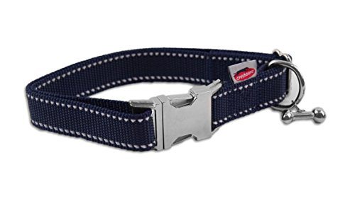 "Greyhound Halsband ""Reflective elegance"" blau, 32-47cm/25mm"
