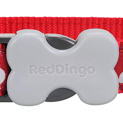 Trilus DC-S5-RE-20 Nylon Hundehalsband, weiße Punkt an rot, M - 2
