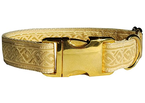 "Hundehalsband ""pure gold"" Sonderedition Luxus Halsung Band Halsband Nylon edel 38 - 53 cm x 2,5 cm"