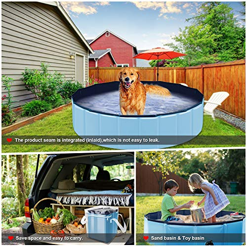 Forever Speed Hundepool Doggy Pool Hunde Pool Planschbecken Swimmingpool Badewanne Pool Φ 160 x 30 cm Blau Umweltfreundliche PVC - 5