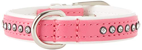 Hunter 98024 Halsband Modern Art Luxus 27/11 nickel_Kunstleder, 20,0-23,5 cm, pink/ weiß