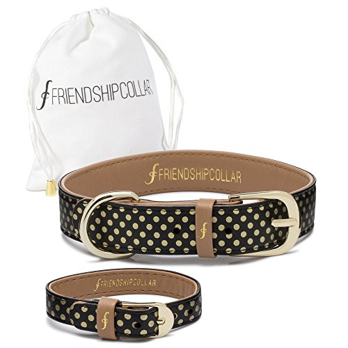 Freindshipcollar Hundehalsband Hund Herrchen Frauchen Set Halsband Armband Leder / M The Dotty About You