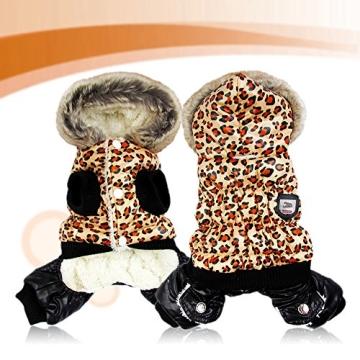 Chinatera NeueWinter Warm Hund Leopard Hoodie Mantel Haustier Kleidung (S) - 3