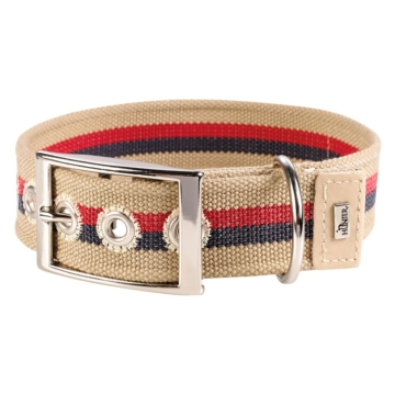 Hunter Canvas-Halsband New Orleans Stripes - beige - Gr. 50: 35 - 45 cm Halsumfang