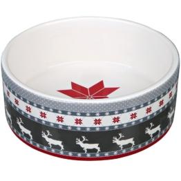 Trixie Winter Keramiknapf, grau/rot/weiß - 300 ml, Ø 12 cm