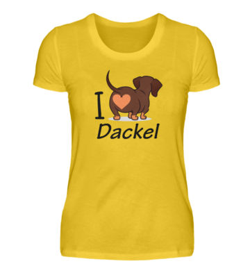 I love Dackel T-Shirt in Gelb
