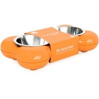 Hundenapf aus Edelstahl in Knochenform - mit zwei herausnehmbaren Schü
