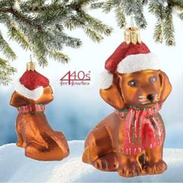 440s Christbaum-Hänger Hund Weihnachts-Dackel braun